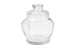 Empty glass transparent jar Royalty Free Stock Photo