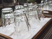 Empty Glass in tray Restaurant bar object Royalty Free Stock Photo
