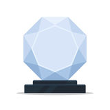 Empty glass trophy award. Vector illustration in simple flat style, isolated on white background Stock Photos