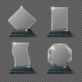 Empty glass trophy awards vector set. Glossy transparent trophy for award illustration Stock Photos
