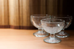 Empty glass vase for ice cream Royalty Free Stock Photos