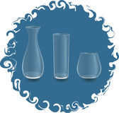 Empty glass vase and two glass. On a blue background Royalty Free Stock Photo