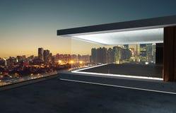 Empty glass wall balcony with city skyline view . Night scene. Mixed media Royalty Free Stock Photos
