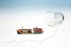 Empty glass of water with Boat capsized (surreal concept) stock illustration