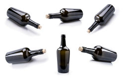 Empty glass wine bottle set Royalty Free Stock Images