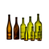 Empty glass wine bottles on white background Stock Images