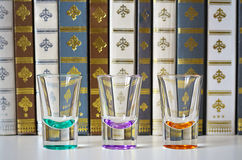 Empty glasses with a background of old books. Stock Photos