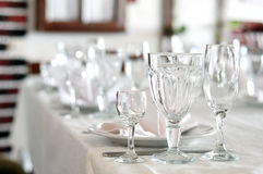 Empty glasses at banquet Royalty Free Stock Image