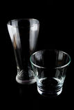 Empty glasses on a black background Stock Image