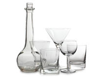 Empty glasses and bottle of wine Stock Photos