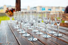 Empty glasses. On celebratory table Stock Photography
