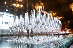 Empty glasses for champagne in restaurant Royalty Free Stock Photo