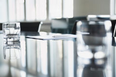 Empty Glasses On Conference Table Royalty Free Stock Photo