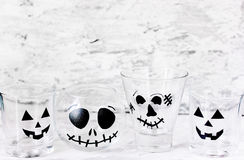 Empty glasses decorated for Halloween party Royalty Free Stock Photo