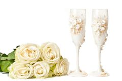 Empty glasses with flowers Royalty Free Stock Image