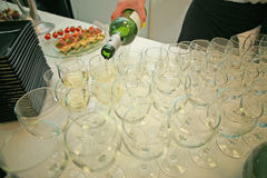 Empty glasses at the lunchtime Stock Image