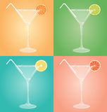 Empty glasses for martini with citrus and plastic tube on multic Stock Photos