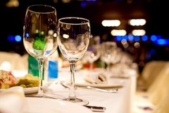 Empty glasses in restaurant Stock Photography