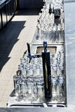 Empty glasses in restaurant Royalty Free Stock Images