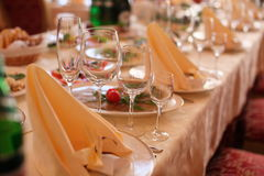 Empty glasses in restaurant close up. Empty glasses in restaurant on the table Royalty Free Stock Image