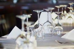 Empty glasses in restaurant royalty free stock photo