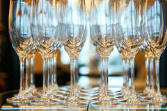 Empty glasses in restaurant natural light stock photography