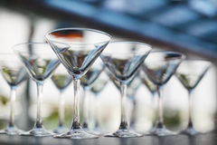 Empty glasses in restaurant natural light Royalty Free Stock Image