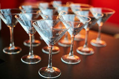 Empty glasses in restaurant natural light Royalty Free Stock Images