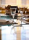 Empty glasses in restaurant Stock Photo