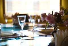 Empty glasses in restaurant Stock Image