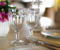 Empty glasses in restaurant Stock Images
