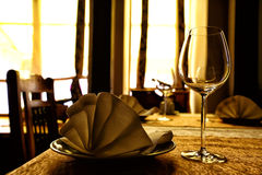 Empty glasses in restaurant Royalty Free Stock Image