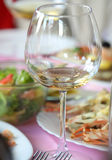 Empty glasses in restaurant, on the table. Isolated Royalty Free Stock Images