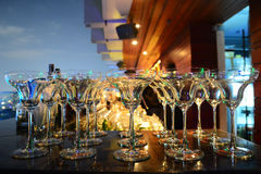 Empty glasses in row background Royalty Free Stock Photo