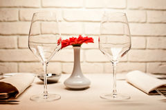 Empty glasses set in restaurant Stock Images