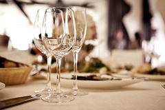 Empty glasses set in restaurant Stock Image