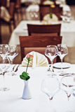 Empty glasses set in restaurant Royalty Free Stock Photos