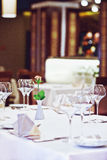 Empty glasses set in restaurant Stock Photos