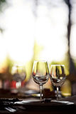 Empty glasses set in restaurant Royalty Free Stock Photography