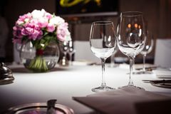 Empty glasses set in restaurant Royalty Free Stock Photo
