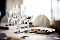 Empty glasses set in restaurant Royalty Free Stock Photos
