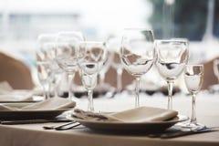Empty glasses set in restaurant Stock Image