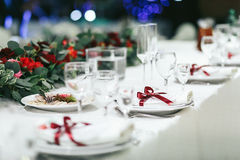 Empty glasses set in restaurant before wedding Royalty Free Stock Image