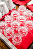 Empty glasses in a Swedish buffet Royalty Free Stock Photo
