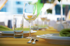 Empty glasses on a table Royalty Free Stock Image
