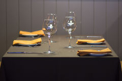 Empty glasses on a table in restaurant royalty free stock photos