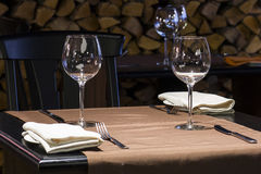 Empty glasses on a table in restaurant stock photo