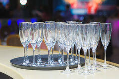 Empty Glasses On A Tray Royalty Free Stock Photo