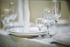 Empty glasses for a wine drying on the table. Close up photo wit Stock Images