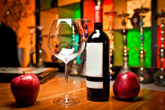 Empty glasses and wine set in restaurant Stock Images
